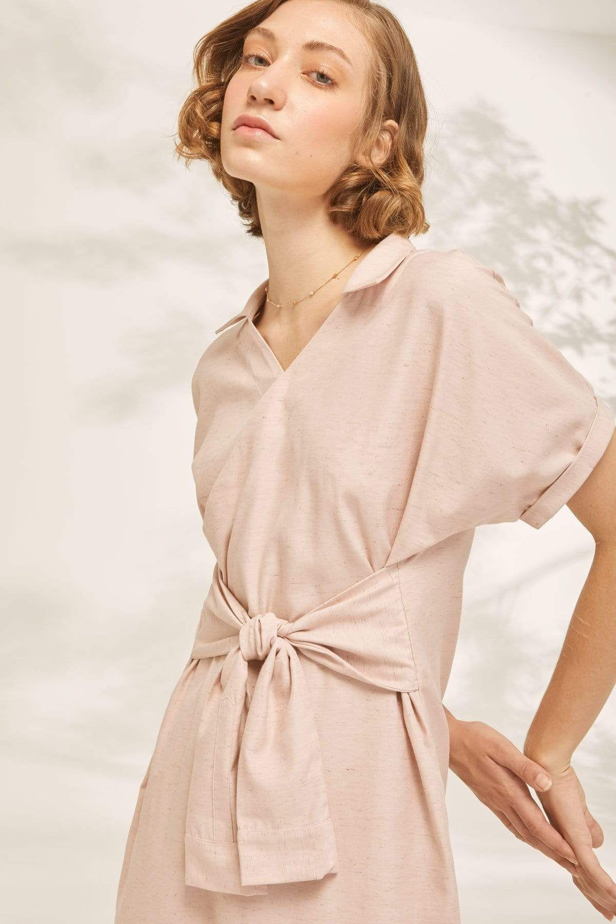TAKTAI Dress Balloon Sleeve Wrap Dress