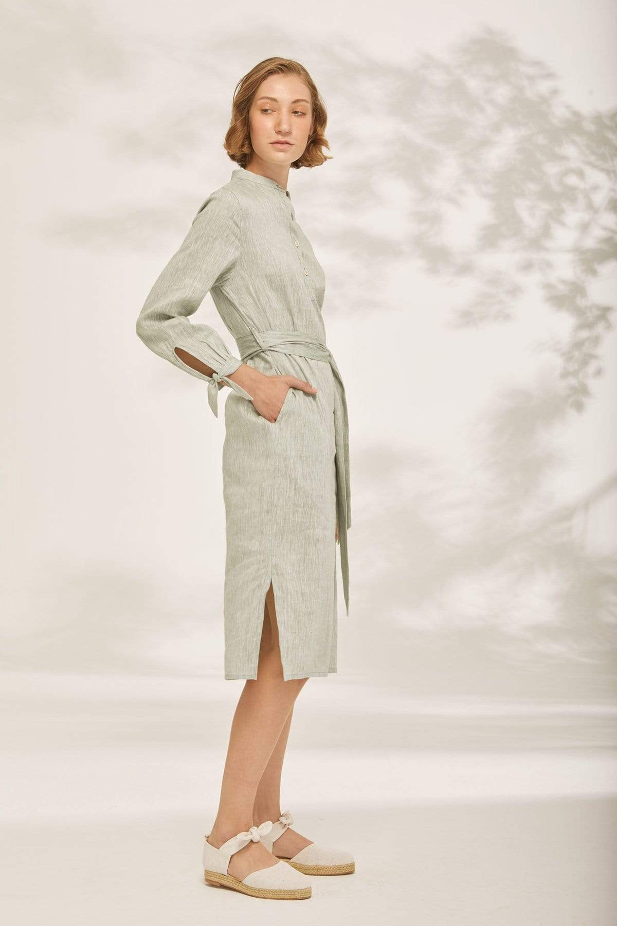 TAKTAI Dress Bow Wrist Shirt Dress
