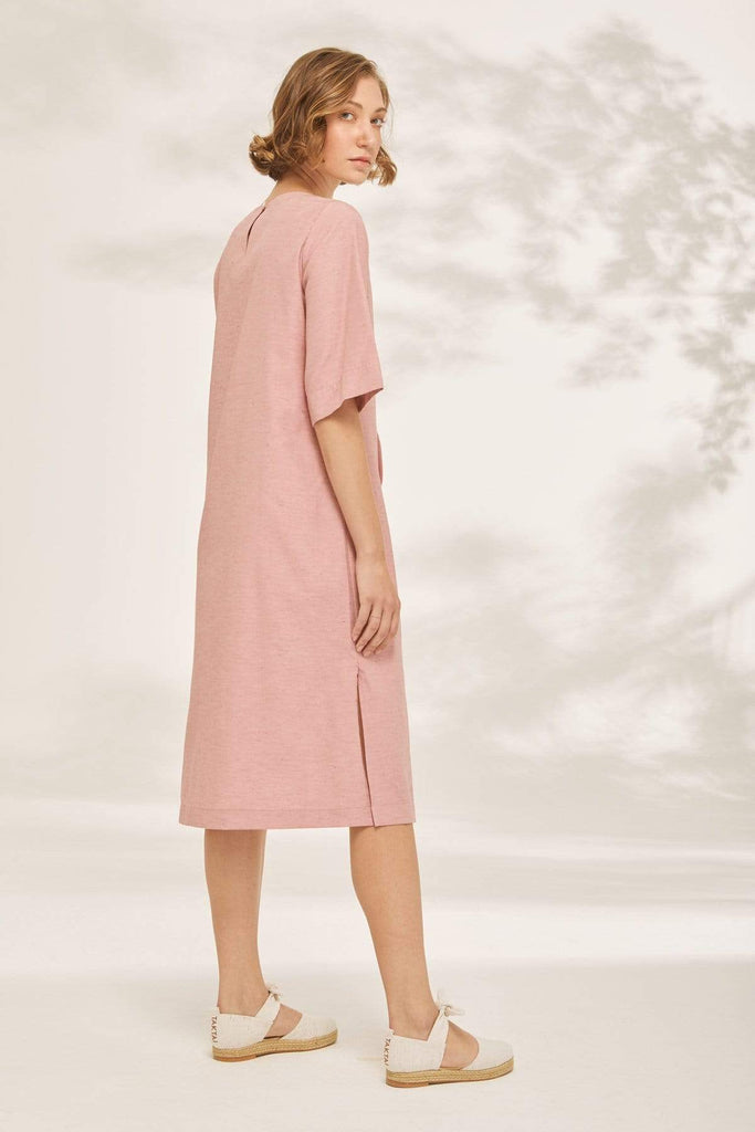 TAKTAI Dress Bubble Pin tuck Tunic Dress