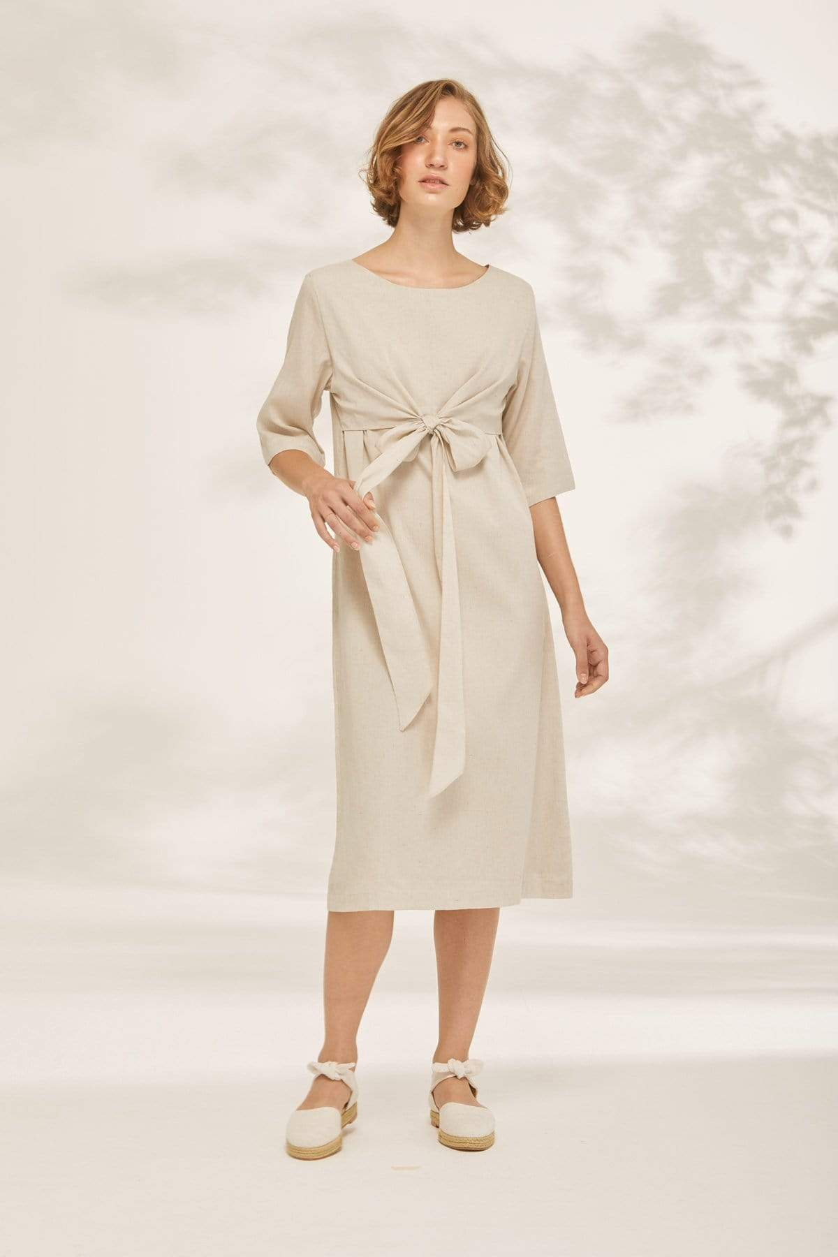 TAKTAI Dress S / Gray Waist Wrap Tunic Dress