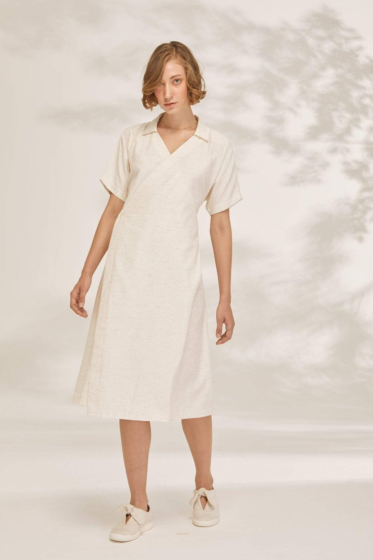 TAKTAI Dress S / Natural Balloon Sleeve Wrap Dress