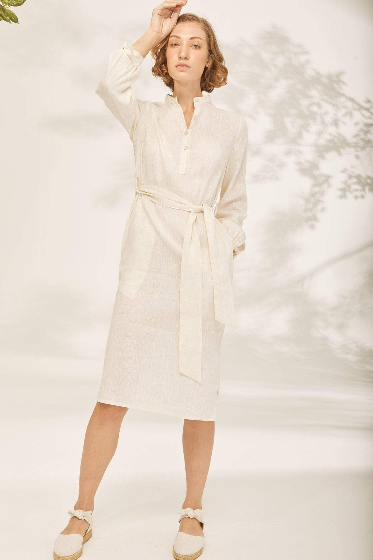 TAKTAI Dress S / Natural Bow Wrist Shirt Dress