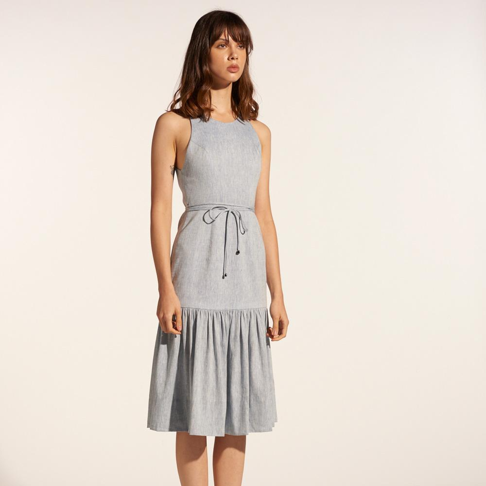 TAKTAI Dress S / Pale Blue Sleeveless Flounce Hem Short Dress