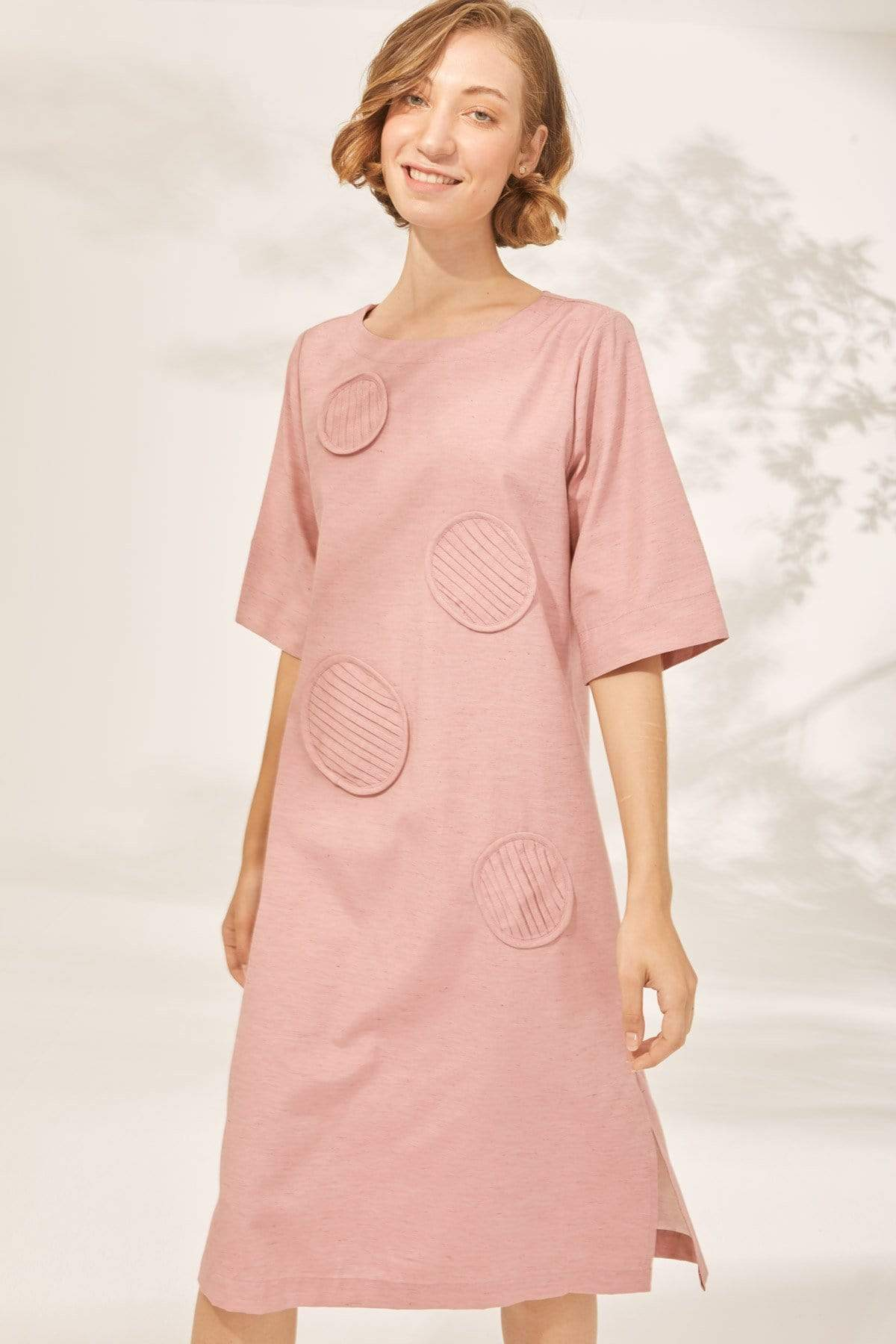 TAKTAI Dress S / Pink Bubble Pin tuck Tunic Dress