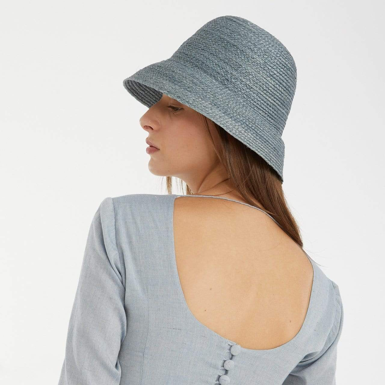 TAKTAI Hat Blue Natural Sisal Cloche Hat