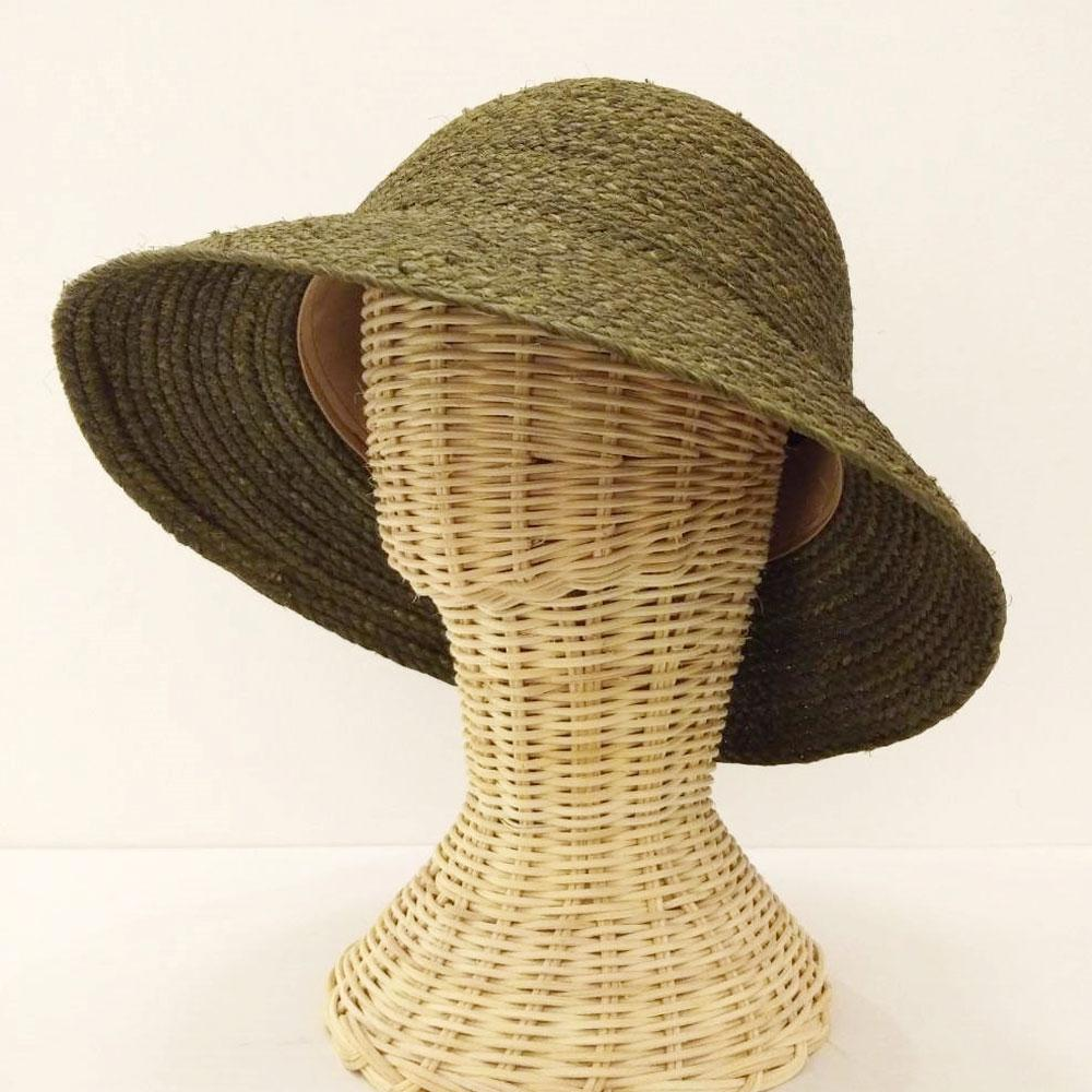 TAKTAI Hat Green Natural Sisal Cloche Hat
