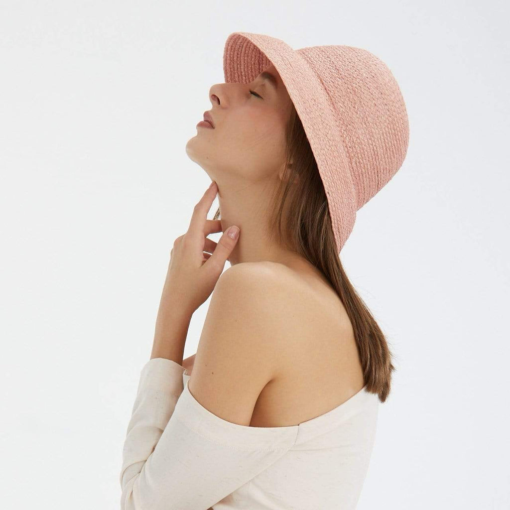 TAKTAI Hat Pink Natural Sisal Cloche Hat