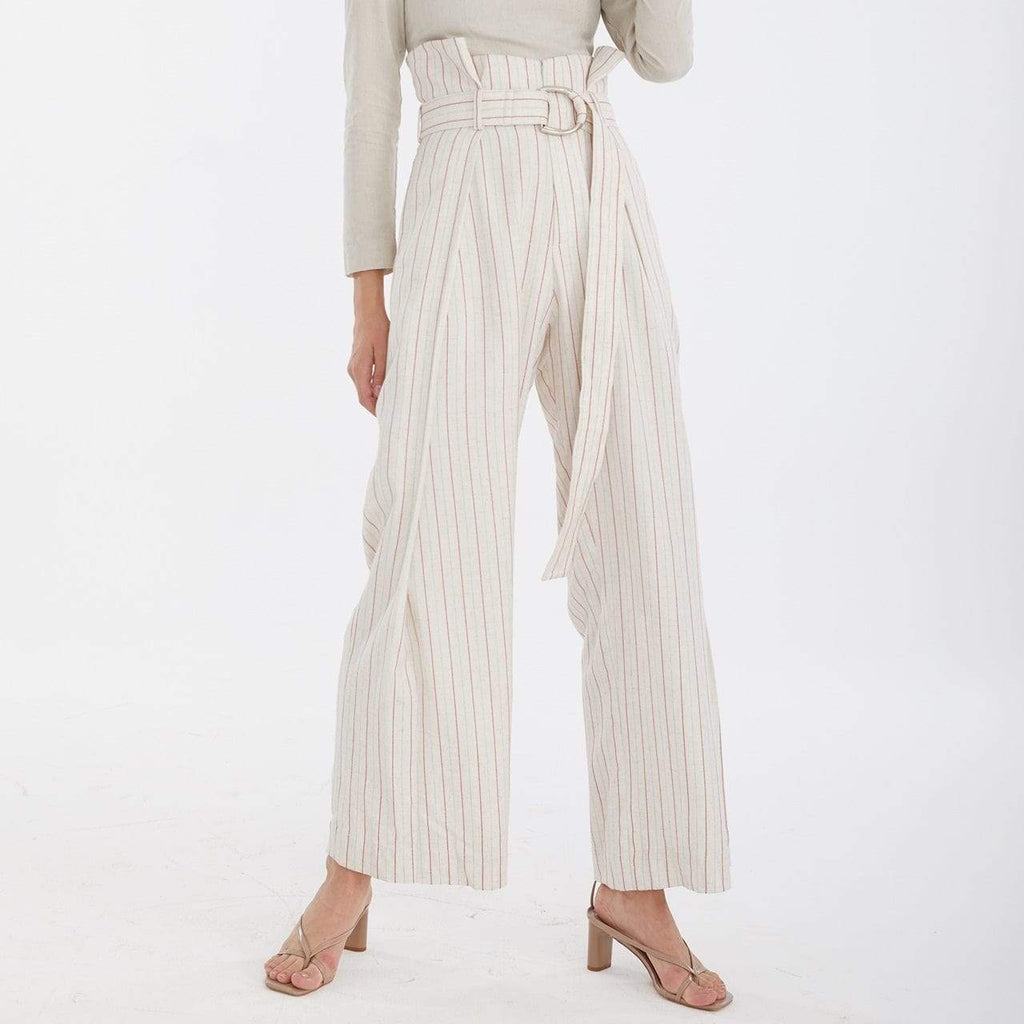 TAKTAI Pants High Waist Draped Pants