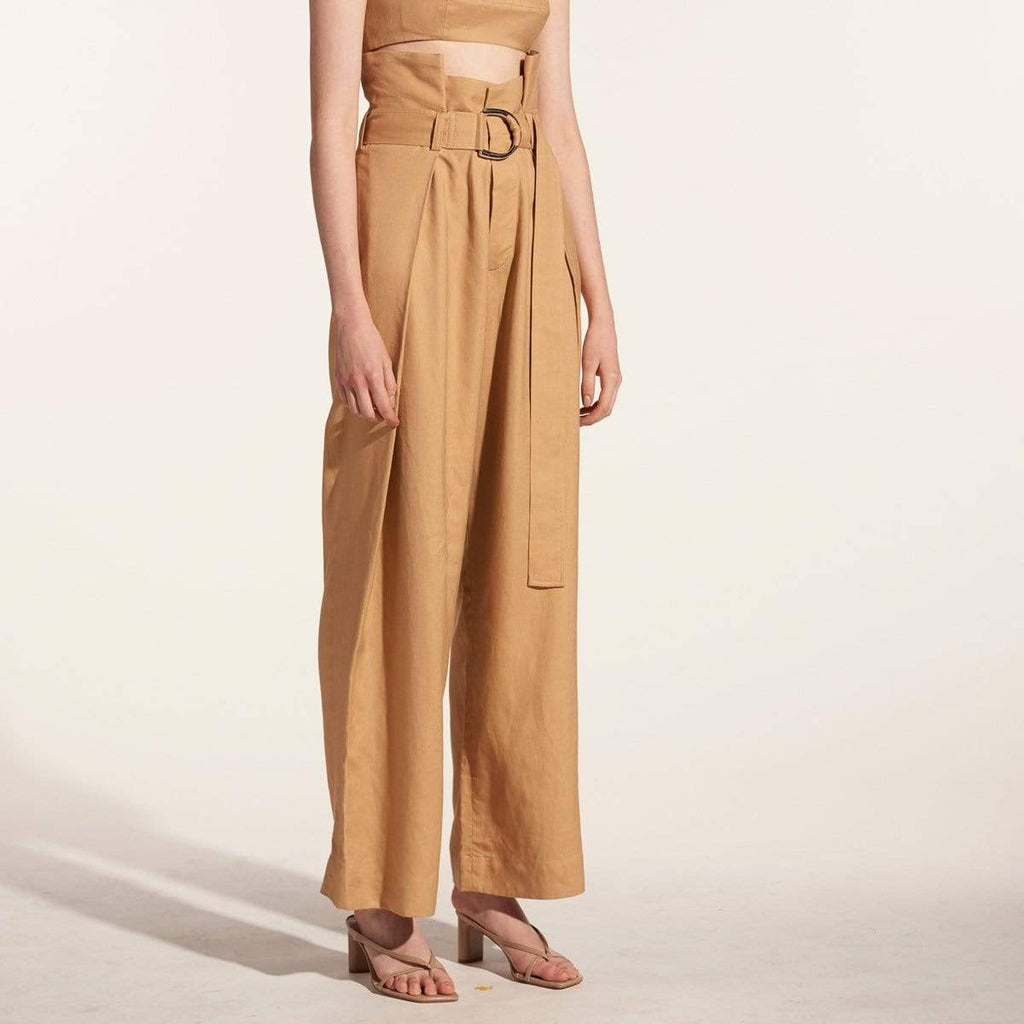 TAKTAI Pants S / Brown High Waist Draped Pants