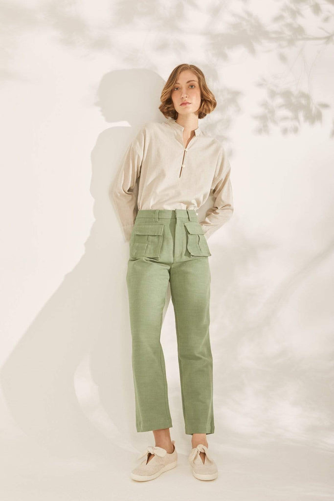 TAKTAI Pants S / Green Double Pocket Cargo Style Pants