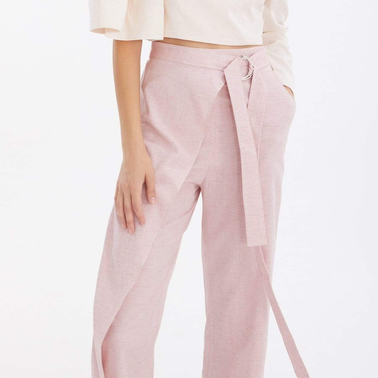 TAKTAI Pants S / Pale Red Semi-Wraped Pants