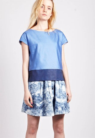 Baby Blue Contrast Tee with Organza