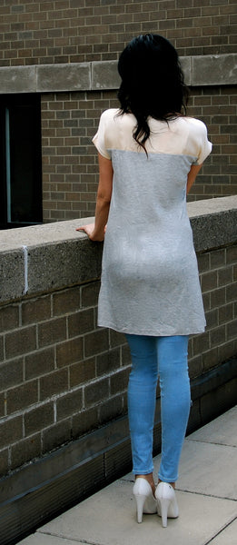 Summer mini dress with contrast yoke