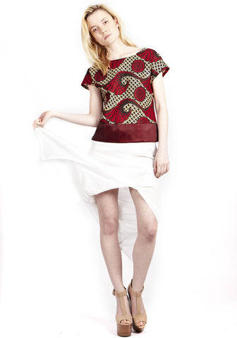 Natural Boho Red Contrast Tee with Organza details