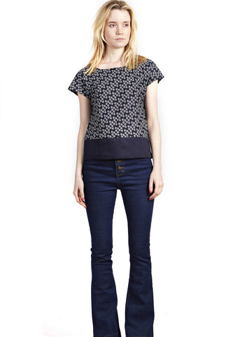 Little Flower Tee with Navy Contrast Hem