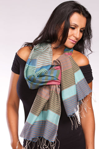 Fair trade, blue and green hand-woven silk and cotton scarf