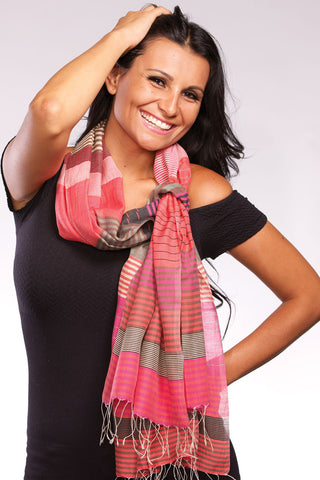 Silk and cotton Scarf ethically produced in India