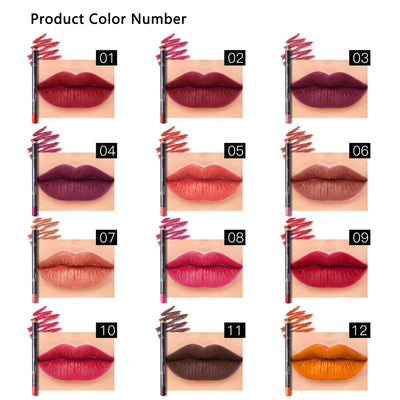 12 Colors Lip Liner Pencil Waterproof