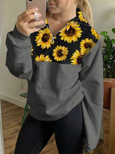 Women's Sunflower Print Panel Sweatshirt