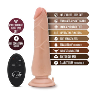 Dr Skin 9 inches 10 Function Wireless Remote Dildo Beige - Sexy Nights Deals