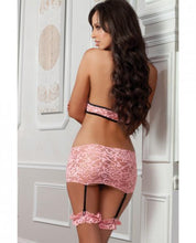 Load image into Gallery viewer, Plunge Bustier & Garter Mini Skirt Sweet Pink O/S - Sexy Nights Deals