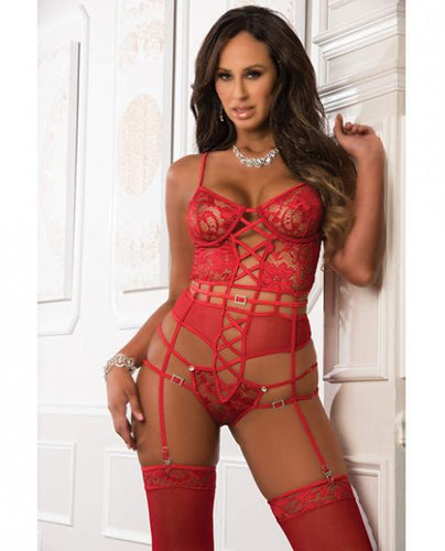 Lace Strappy Corset Teddy & Stockings O/S - Sexy Nights Deals