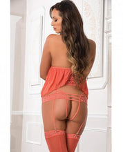 Load image into Gallery viewer, Lace Flyaway Mesh Cami, Strappy Thong & Stockings O/S - Sexy Nights Deals