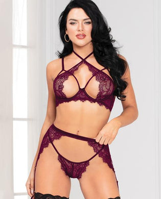 Floral Lace Bra, High Waist Garterbelt & G-String O/S - Sexy Nights Deals