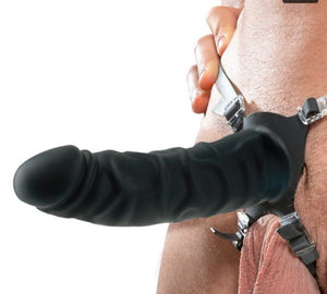 Extreme 7 Inch Silicone Hollow Strap On in Black - Sexy Nights Deals