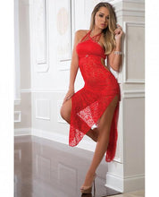 Load image into Gallery viewer, Shoulder Baring Laced Night Dress Red O/S - Sexy Nights Deals