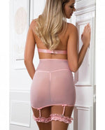 Load image into Gallery viewer, Lace Up Empire Waist Garter Dress Sweet Pink O/S - Sexy Nights Deals