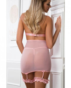 Lace Up Empire Waist Garter Dress Sweet Pink O/S - Sexy Nights Deals