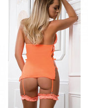 Load image into Gallery viewer, Halter O-Ring Babydoll & Panty Garter Neon Peach O/S - Sexy Nights Deals