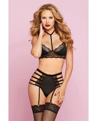 Lace, Microfiber Bra & High Waist Panty Black O/S - Sexy Nights Deals