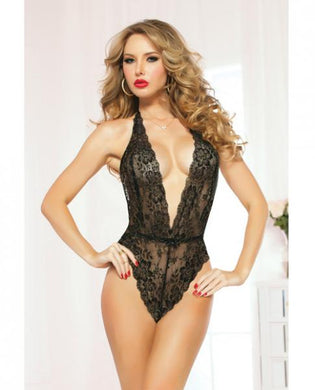 Lace Teddy Halter Satin Ties & Snap Crotch Black O/S - Sexy Nights Deals