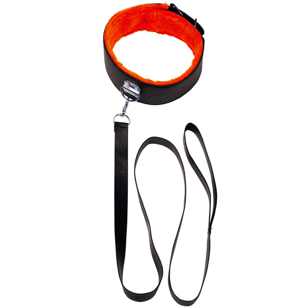 Orange Is The New Black, Short Leash Faux Leather, Black With Furry Orange Lining - Sexy Nights Deals