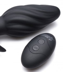 Thump It 7X Swirled Thumping Anal Plug Black - Sexy Nights Deals