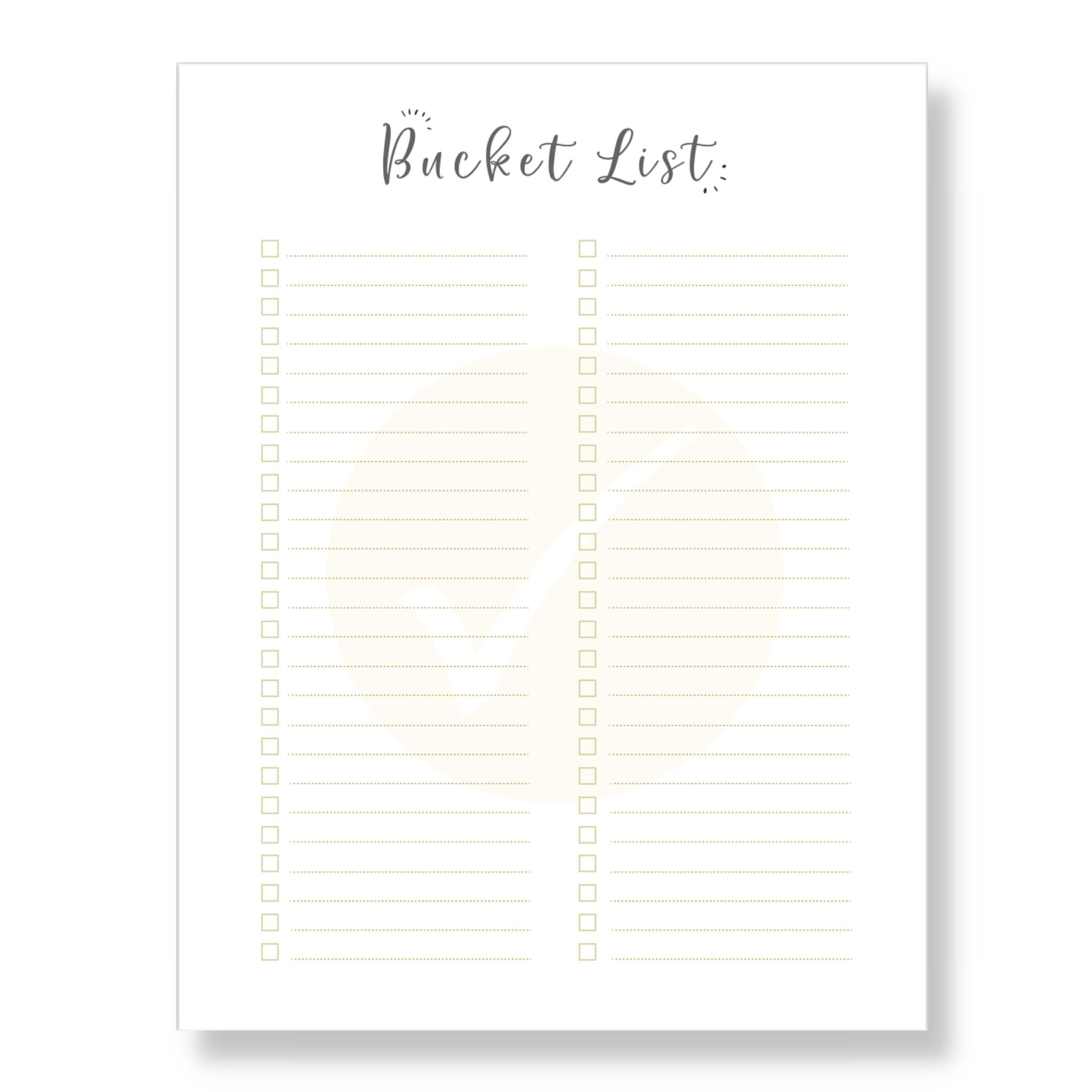 Bucket List Template (Printable)