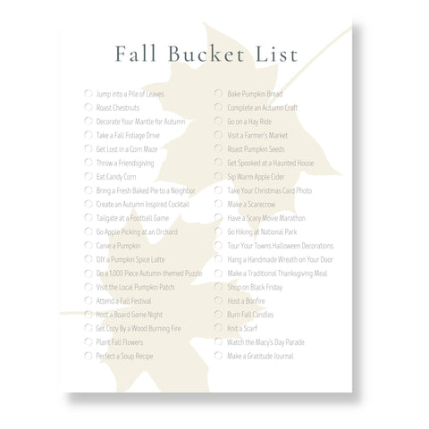 Fall Bucket List (Printable)