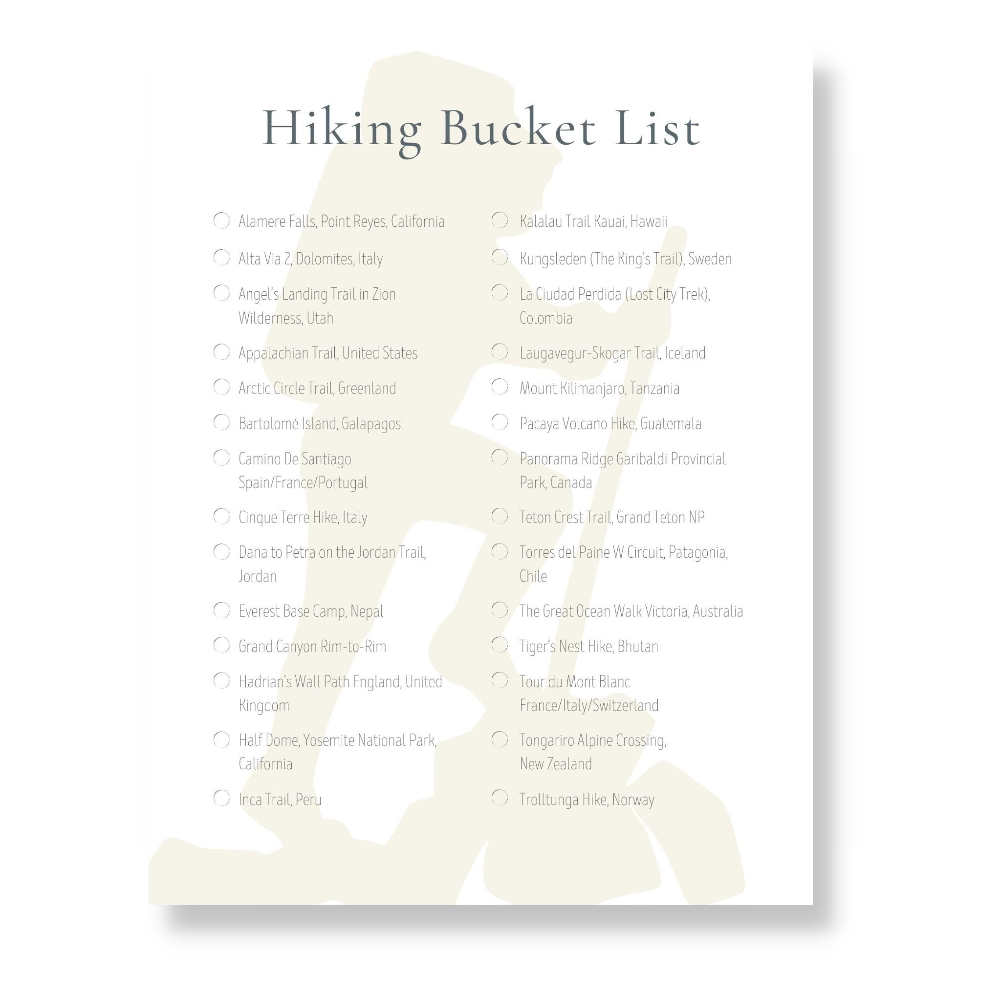 Hiking Bucket List (Printable)