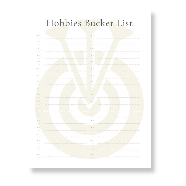 Hobbies Bucket List (Printable)