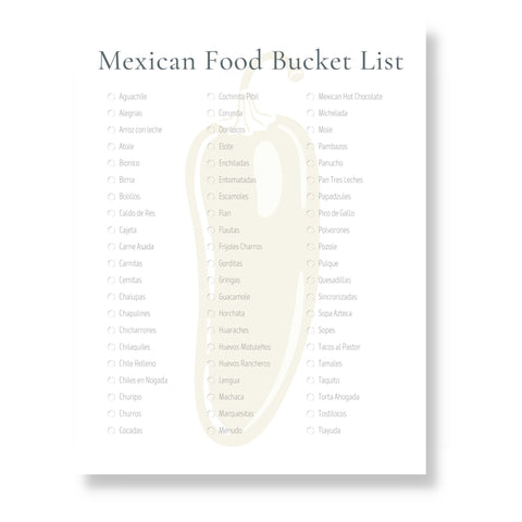 Mexican Food Bucket List (Printable)