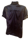black ruffle shiny blouse $10