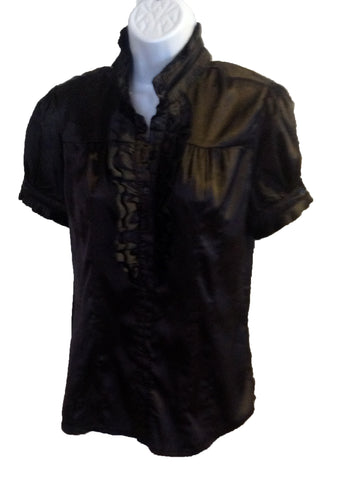 black ruffle shiny blouse $18.90