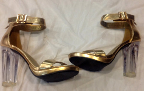 D gold wedge heels $28
