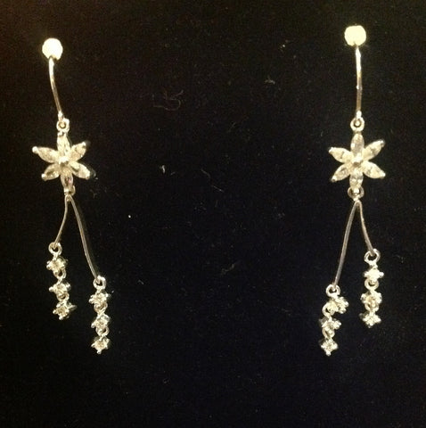 sterling and star diamond earrings $124
