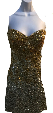 Jovani beaded gold /silver mini $500.50