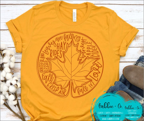 Fall Leaf Word Art T-Shirt
