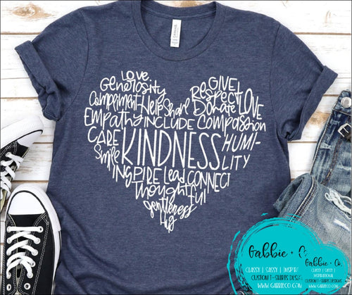 Kindness Heart Word Art T-Shirt