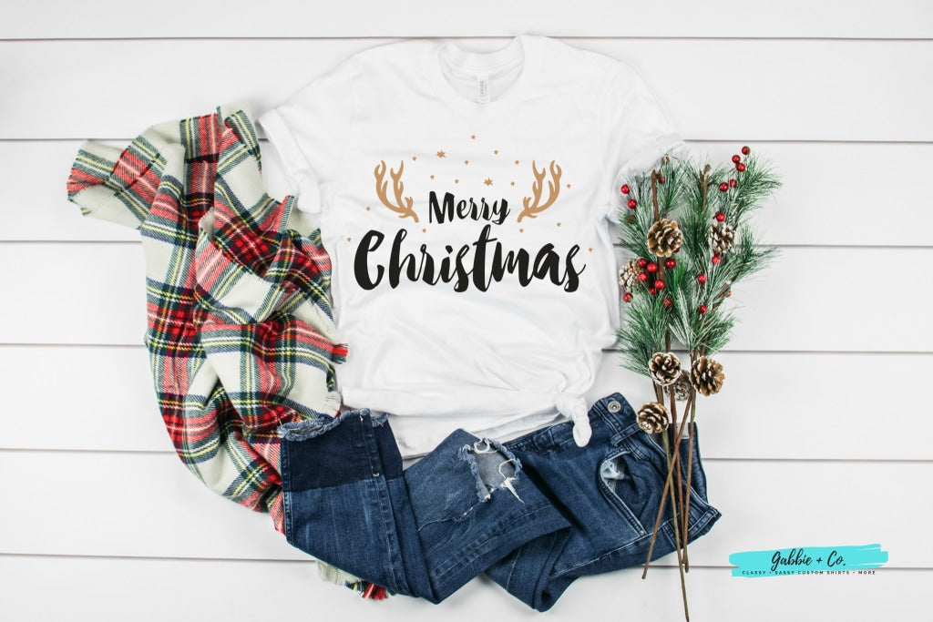 Merry Christmas With Antler (Reindeer) Accent T-Shirt